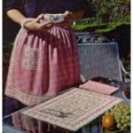 Crochet Vintage Hostess Set – Embossed Filet Crochet Place Mat, Apron Band and Apron Pocket