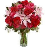 Carnations Lilies and Roses Bouquet