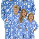 Holiday Matching Family Pajamas Blue Snowflakes Footed Pajamas