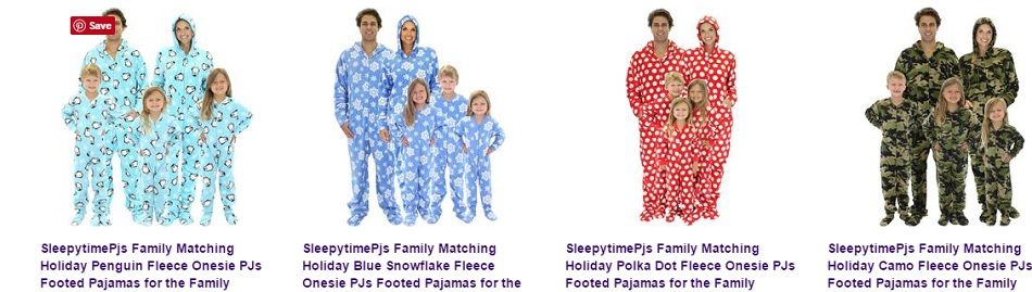Matching Christmas Onesie footed pajamas for the family