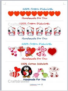 Free Printable Crochet and Knit Valentine's Day Dishcloth labels