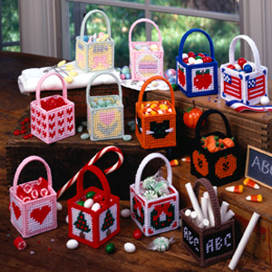 Plastic Canvas Baskets to Make for the Holidays Easter Summer Valentine's Day