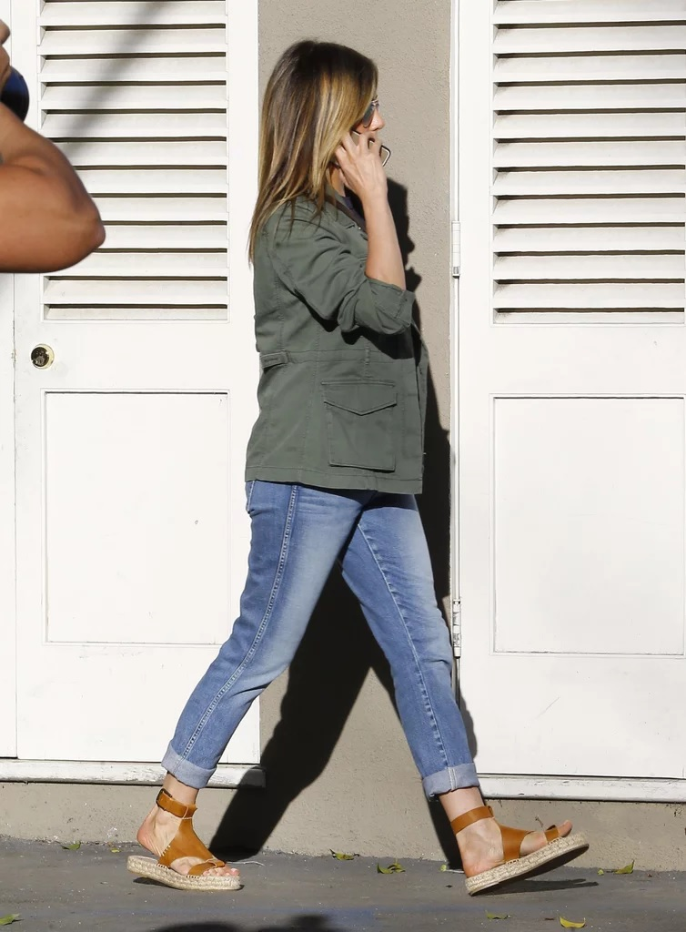 Jennifer Aniston Wearing Espadrille Sandals