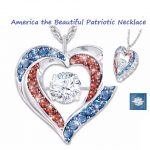 America the Beautiful Patriotic Heart Shaped Necklace
