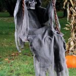 Funny Halloween Decoration Grim Reaper Playing on the Swings