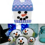 Create a Happy Snowman Set in Plastic Canvas SnowmanTissue Box and Snowball Ornament Patterns