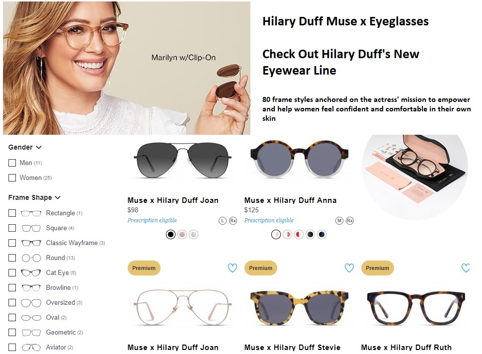 1c4e1059a2a Buy the Muse x Hilary Duff Eyewear Collection exclusively at GlassesUSA