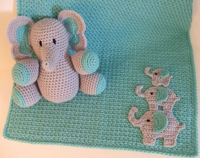 Crochet Elephant Baby Blanket And Matching Toy Pattern Bookdrawer